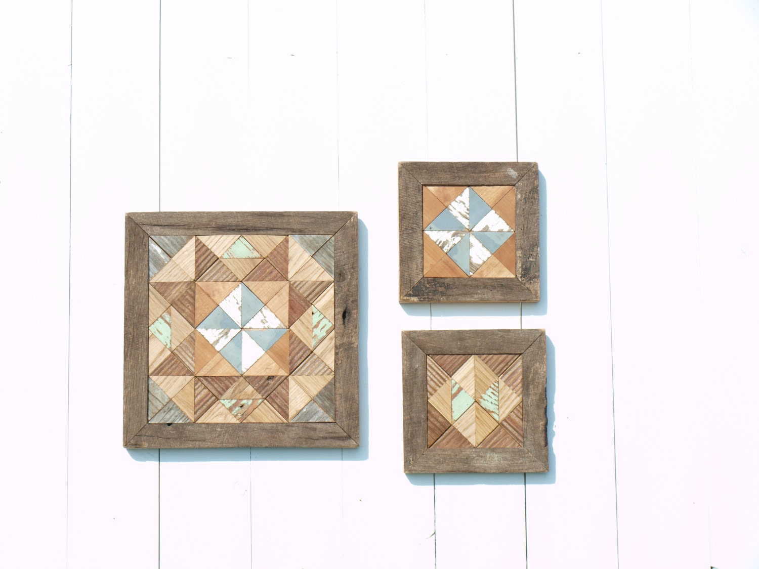 Rustic Wall Decor Set : Rustic wall decor set wooden quilt block cottage chic