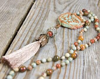 Tassel boho necklace, rustic bohemian, earthy necklace, rustic earth tones, Ceramic Pendant, butterfly pendant, long dangle necklace, tassel