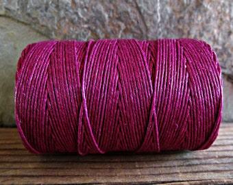 3 Ply Magenta Waxed Irish Linen Thread 10 Yards WIL-28,linen crochet thread,waxed linen thread,irish linen thread,magenta linen thread