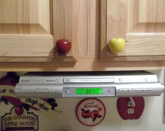 Handcrafted Wooden Apple Cabinet knobs/drawer pulls, in Red or Green