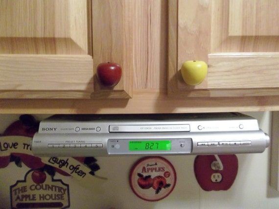 Handcrafted Wooden Apple Cabinet knobs/drawer pulls in Red or