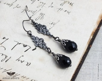 Victorian Style Earrings, Jet Black Drop Earrings, Antiqued Silver Gothic Earings, Victorian Mourning Jewelry, 925 Sterling Earwire Option,