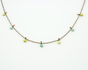 Handmade enameled necklace; 3 shades of pastel droplets on a copper chain.