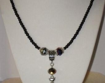 Black Crystal & Silver Cat Necklace