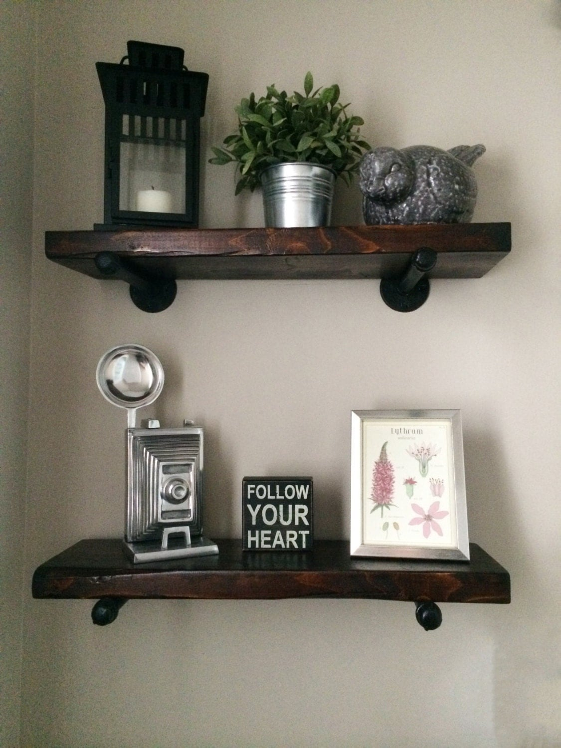 36 Rustic Industrial Wood Pipe Shelf By Thelittlebarnco On