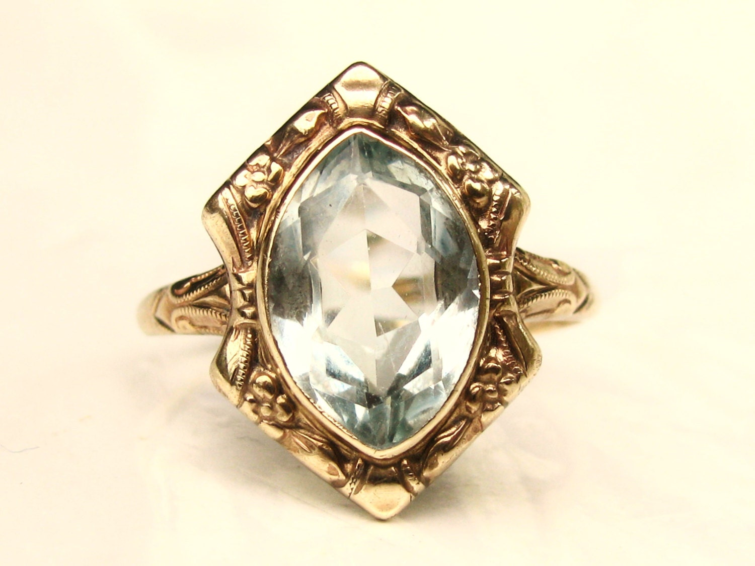 antique aquamarine engagement ring 10k by ladyrosevintagejewel