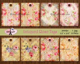 Printable Tags Antiqued/Gift /Floral/Roses/Lace/Striped Ticking Tags, Shabby Chic Roses Tags, Digital Gift Hang Tags