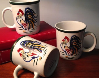 Set of three rooster mugs by Century Stoneware