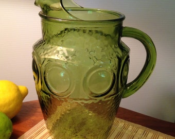 Vintage pressed green glass coin dot pitcher