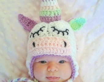 baby unicorn hat, newborn photo prop, unicorn costume, crochet unicorn hat, unicorn baby shower, unicorn baby gift, baby girl hat, baby gift