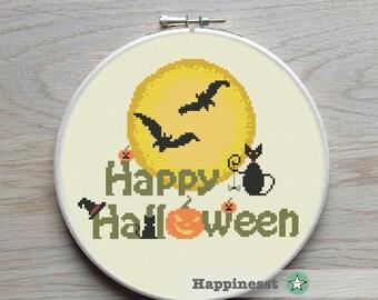 Halloween cross stitch pattern, happy halloween, moon, PDF, DIY ** instant download**