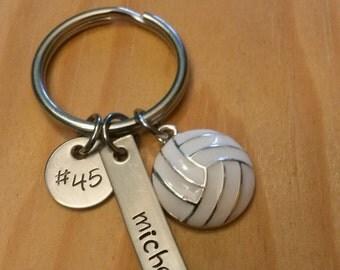 Hand Stamped Volleyball Keychain - Girls Volleyball Keychain - Boys Team Gift  - Personalized Volleyball Keychain -  Volleyball Team Gift