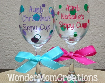 Aunt Sippy Cup Wine Glass; Aunt Personalized Wine Glass; Auntie Sippy Cup, Auntie Personalized Wine Glass
