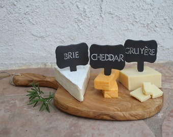 Black Clay Cheese Markers set of 3 ceramic cheese tags cheese label food tag party holiday entertaining unique hostess host gift for foodies