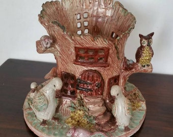 Stunning Vintage Art Pottery Planter In A Shape Of A Cottage With Owls Ducks Headhgock...