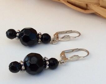 Faceted Black Onyx Leverback Dangle Earrings