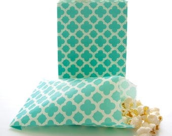 Teal Blue Spanish Tile Bags (25 Pack) - Party Goodie Bags, Birthday Loot Bags, Wedding Paper Bags