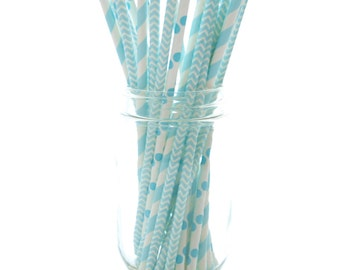 Baby Shower Straws, Baby Blue Party Straws, Baby Shower Party Favors, 25 Pack - Light Blue Baby Shower Straws