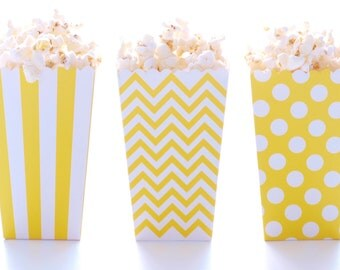 Yellow Popcorn Boxes (36 Pack) - Popcorn Wedding Favors, Treat and Candy Tubs, Candy Buffet Supplies