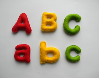 Felt alphabet letters , Felt Alphabet , Felt Letters , Colorful Letters , Educational Toy, Upper Case Letters,  Lover Case Letters