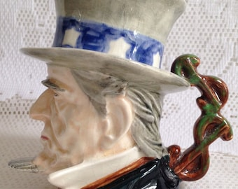 "RARE  Royal Winton Grimwades collectible  ""Uncle Sam"" Character Jug with dollar sign handle ~ Made in England"