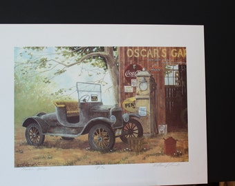 "William J. Coombs (1946-2007)  Original Artists Proof Limited Edition Lithograph (1984) Entitled ""Oscar's Garage"", Signed by Artist"