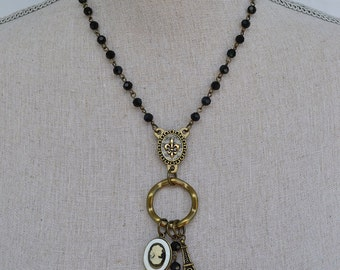 Paris Cameo Pendant Necklace, handmade, Eiffel Tower, black beads on a brass chain