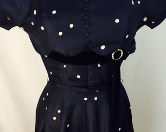 "1950s Original ""gane Hodges New York"""" polka dot Silk Dress, pleated Skirt. Size M"