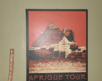 Vintage canvas painting of Egyptian Pyramid