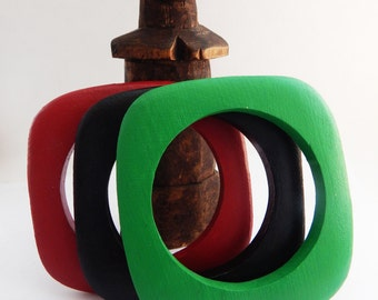 African Bangles Set of 3 African Wood Jewelry Red Black Green Wood Bangles African Bracelets RBG Gift Ideas Square Bangles Afrocentric