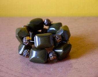 Bakelite Memory Wire Bracelet Olive Green