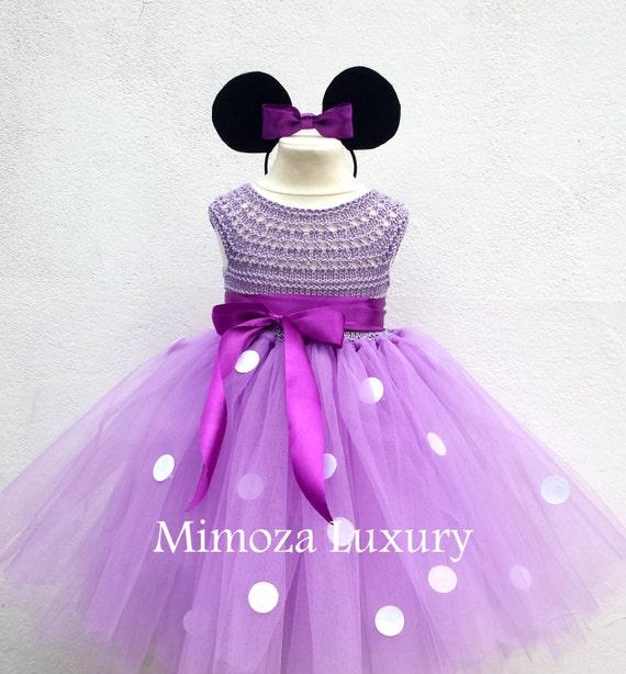 Lilac Minnie mouse birthday dress, Lavender minnie mouse outfit, minnie mouse costume, crochet minnie mouse dress, 1st birthday dress