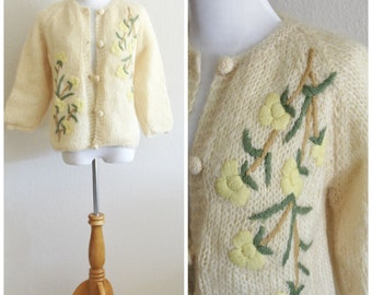 Vintage 50's 60's  MOHAIR Embroidered Buttercream Yellow Flower Cardigan Sweater Jumper Hand Knitted