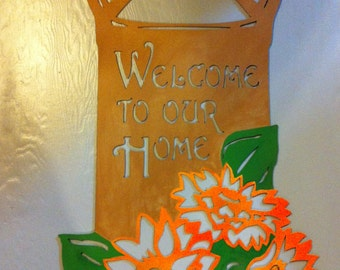 Metal Welcome Milk Can With Sunflowers