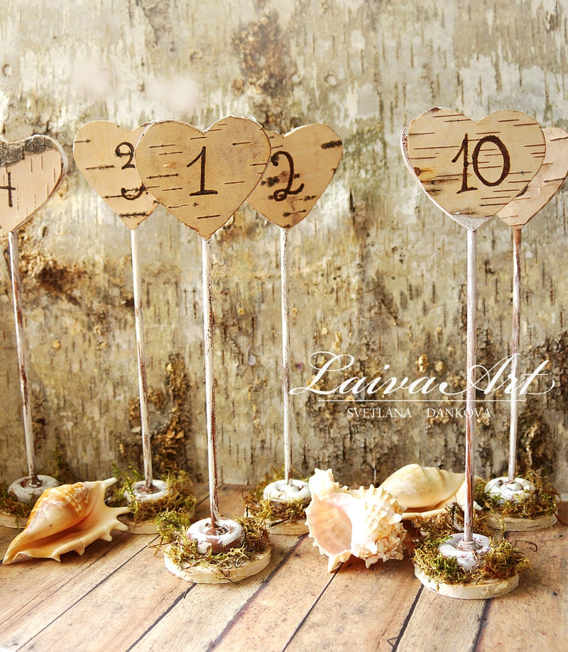 Rustic wedding table numbers centerpiece wood birch by