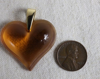 Vintage Lalique Heart Pendant, amber color with gold hardware.