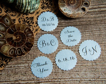 25 Sky baby Blue Save the Date, Printed Envelope seals, wedding sticker invitation. Scalloped Round Favour sticker. Matt Pearlised shimmer