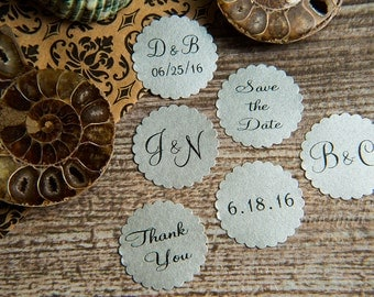 25 Silver Save the Date stickers,  Printed Envelope seals, wedding sticker invitation. Matt Pearlised shimmer Scalloped Round Favour sticker