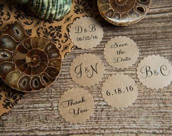 25 Mink Save the Date, Printed Envelope seals, wedding sticker invitation. Scalloped Round Favour sticker. Matt Pearlised shimmer