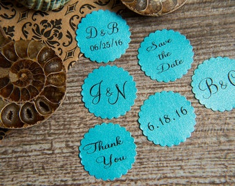 25 Turquoise Save the Date, Printed Envelope seals, wedding sticker invitation. Matt Pearlised shimmer Scalloped Round Favour sticker, aqua.