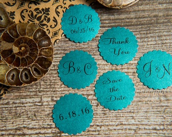 25 Teal Save the Date, Printed Envelope seals, wedding sticker invitation. Matt Pearlised shimmer Scalloped Round Favour sticker, aqua.