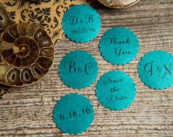 25 Teal Save the Date, Printed Envelope seals, wedding sticker invitation. Matt Pearlised shimmer Scalloped Round Favour sticker, aqua.