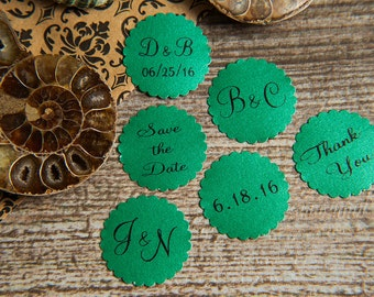 25 Green Save the Date, Printed Envelope seals, wedding sticker invitation. Matt Pearlised shimmer Scalloped Round Favour sticker, Forest.