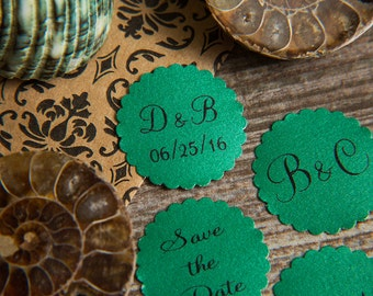 100+ Green Save the Date Envelope seals, wedding stickers invitations. Printed Scalloped Round wedding Favour sticker Matt Pearlised shimmer