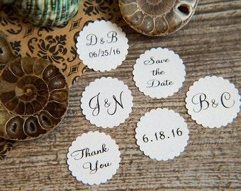 25 Snow White Save the Date, Printed Envelope seals, wedding sticker invitation. Scalloped Round Favour sticker. Matt Pearlised shimmer