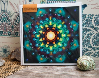 3 x Blank Mandala - Theosophy Square Blank Greeting Card. Frog, hearts and connectedness. Fractals. Illustrated flower. Space. Meditation.