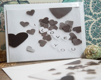 I LOVE YOU Blank Greeting Card. Heart Confetti. Personal Messages. Cards about Love. Photography Art Card. A6 Size Gift Card. Notes 4 lovers