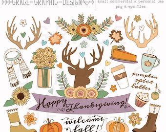 Thanksgiving FALL CLIPART, Autumn clipart, nature clipart, digital illustrations, instant download eps FALL clipart set, digital paper pack