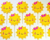 Sunshine Yellow Cupcake Toppers 1st Birthday with Pink Bow Baby Shower Garden Party