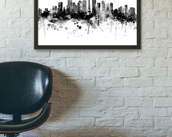 Seattle Skyline, Black and White,Digital Watercolor Art Print, Modern Home Decor ,No,554